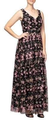 Alex Evenings Floral Embroidered Maxi Dress