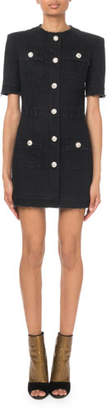Balmain Denim Button-Front Mini Dress