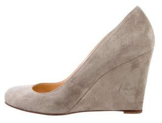 Christian Louboutin Suede Wedge Pumps Grey Suede Wedge Pumps