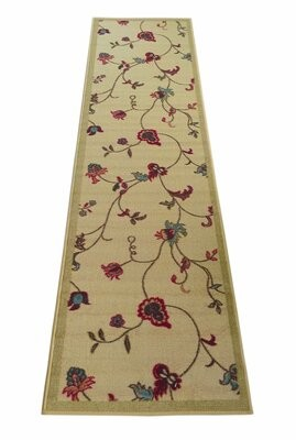 Charlton Home Enprise Flowers Scroll Floral Beige/Red Area Rug Charlton Home