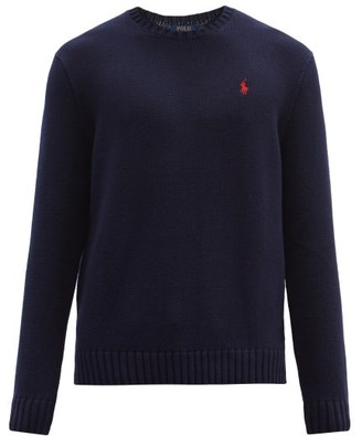 Polo Ralph Lauren Logo Embroidered Knit Cotton Sweater - Mens - Navy