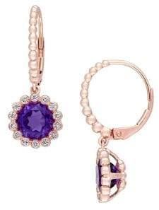 Sonatina 14K Rose Gold, Amethyst and Diamond Halo Scalloped Earrings