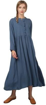 Grace Women's Linen Cotton Soft Long Pleated Skirt Dress Plus Clothing C24