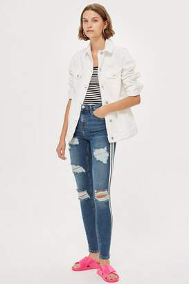 Topshop MOTO Mid Blue Side Stripe Jeans