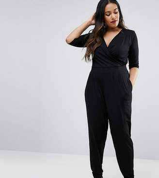 Asos DESIGN Curve wrap jumpsuit with 3/4 sleeve