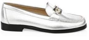 Salvatore Ferragamo Rolo Metallic Leather Loafers