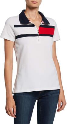 Modern American Designer Striped Short-Sleeve Polo Shirt