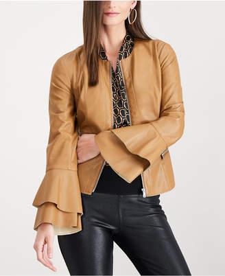 INC International Concepts I.n.c. Ruffle-Sleeve Faux-Leather Jacket