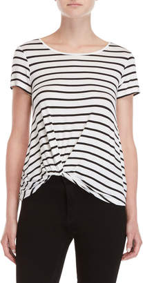 Pink Rose Striped Knotted Boatneck Tee
