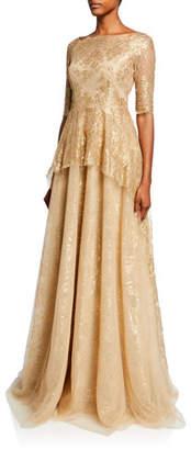 Rickie Freeman For Teri Jon Premier High-Neck Elbow-Sleeve Metallic Jacquard Gown