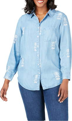 Foxcroft Haven Embroidered Floral Tencel® Lyocell Shirt