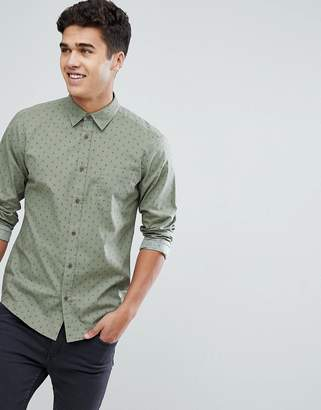 Solid Shirt In Green With Tonal Print
