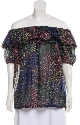 Chloé Off-The-Shoulder Printed Top