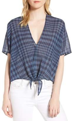 Lucky Brand Plaid Tie Cotton Blend Top