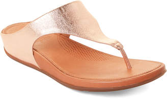 bf1820598741 FitFlop Rose Gold Banda Leather Flip Flops