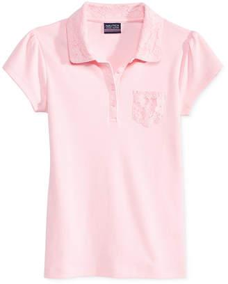 Nautica School Uniform Lace-Trim Polo, Big Girls