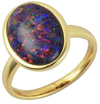 N. Ivy Gems 9ct Yellow Gold 3.7ct Triplet Opal Cabochon Solitaire Ring Size - P