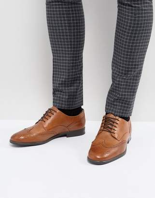 H By Hudson Indus Leather Brogue Shoes In Tan