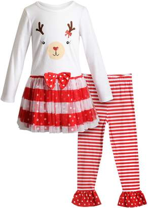 Youngland Girls 4-6x Reindeer Tulle Dress & Striped Leggings Set