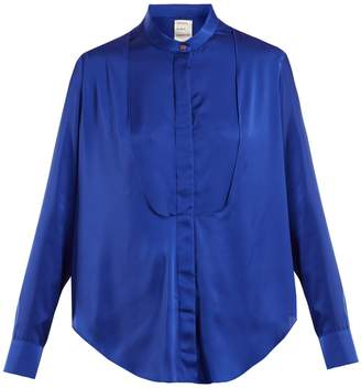 Maison Rabih Kayrouz Charmeuse bib-panel blouse