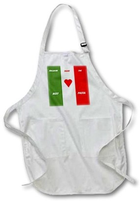 3dRose Italian Chefs Make Pasta, Medium Length Apron, 22 by 24-inch, With Pouch Pockets