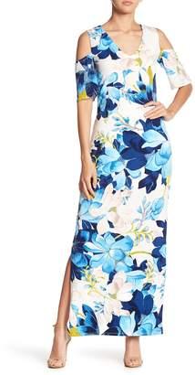 Rachel Roy Printed Cold Shoulder Maxi Dress