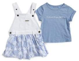 Calvin Klein Jeans Little Girl's Two-Piece Overall Dress & Tee Set