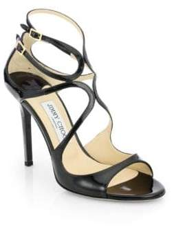 Jimmy Choo Lang 100 Strappy Patent Leather Sandals