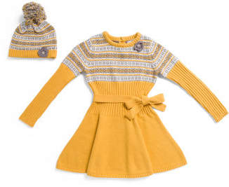 Little Girls Belted Sweater Dress With Pom Hat