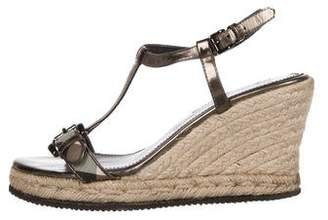 Burberry Leather Espadrille Wedges