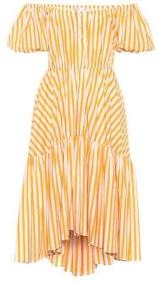 Caroline Constas Bardot striped cotton midi dress