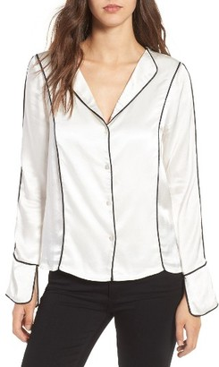Women's Line & Dot Dita Contrast Piping Satin Shirt $79 thestylecure.com