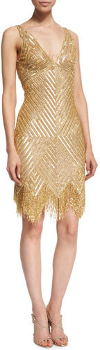 Naeem Khan Sleeveless V-Neck Beaded Fringe Dress