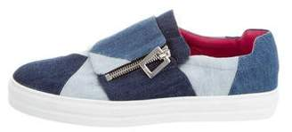 Roger Vivier Prismick Denim Slip-On Sneakers