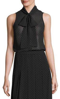 MICHAEL Michael Kors Sleeveless Tie-Neck Polka-Dot Blouse, Black $78 thestylecure.com