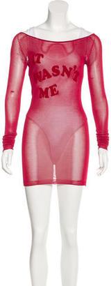 Twin.Set Velvet-Accented Open Knit Dress $85 thestylecure.com