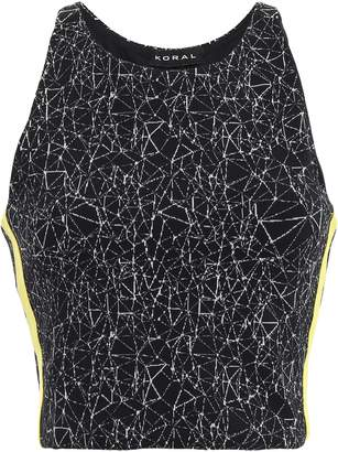Koral Cropped Printed Stretch-knit Top