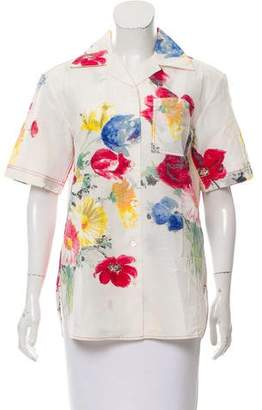Celine Printed Linen-Blend Top w/ Tags