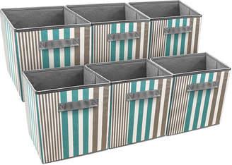 SORBUS Sorbus Foldable Storage Cube Basket Bin 6 Pack Vertical Stripe Line Pattern