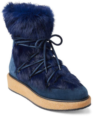 Paloma Barceló Blue Real Fur Suede Platform Booties
