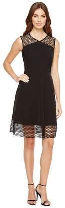 Tahari ASL Embroidery Trim Fit-and-Flare Dress Women's Dress