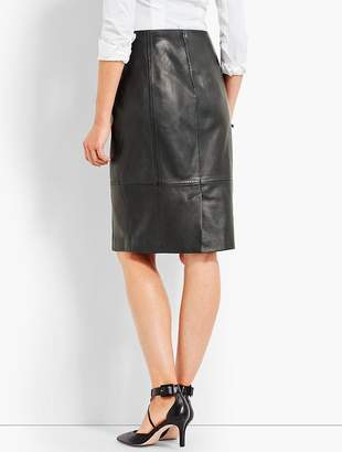 Talbots Leather Front Zip Pencil Skirt