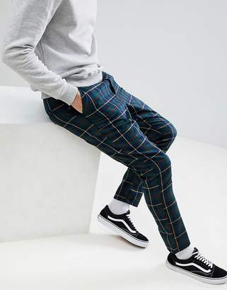 Asos Design Tapered Pants In Tartan