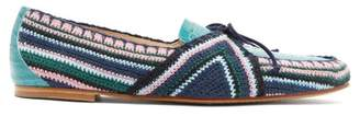 Gabriela Hearst Hays Crocodile Effect Leather Loafers - Womens - Blue Multi