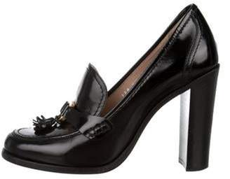 Salvatore Ferragamo Tassel-Accented Loafer Pumps Black Tassel-Accented Loafer Pumps