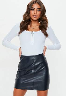 Missguided Navy Faux Leather Mini Skirt