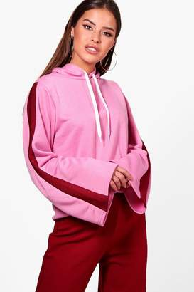 boohoo Petite Sports Trim Kimono Sleeve Sweat Top