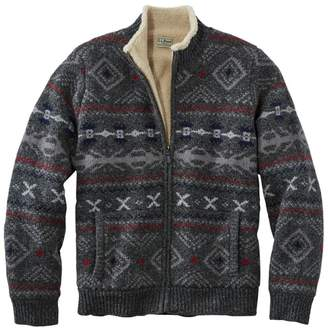 L.L. Bean Men's L.L.Bean Classic Ragg Wool Sweater, Full-Zip Sherpa-Lined Fair Isle