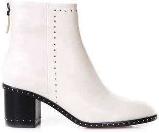 Lola Cruz Studded Ivory Leather Ankle Boots