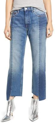 Tommy Jeans High Rise Step Hem Two Tone Nonstretch Jeans (Combination Mid Blue Rigid)